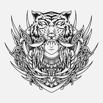 Czarno-biały ręcznie rysowane tygrys i ludzki ornament grawerowania