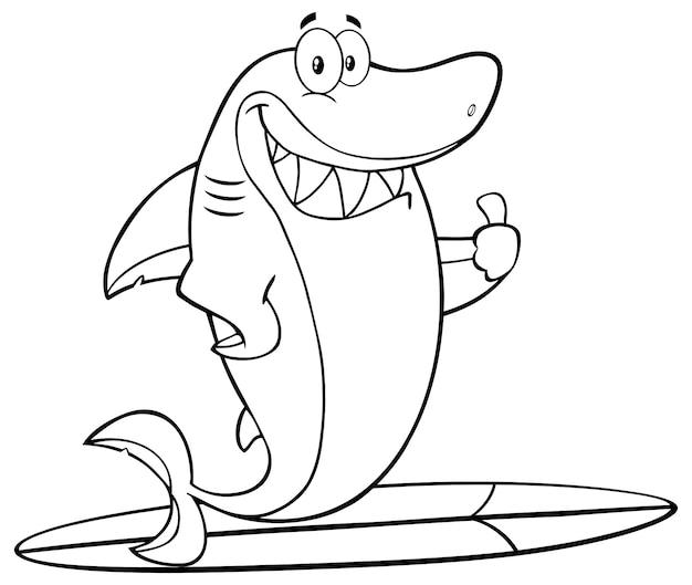 Czarno-biały rekin kreskówka maskotka surfuje i trzyma kciuk w górę. ilustracja