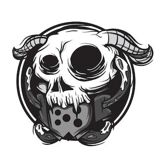 Czarno-biały róg maska czaszki potwór maskotka ilustracji wektorowych