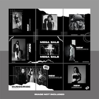 Czarno-biały rozdarty papier moda uliczna odzież social media instagram puzzle szablon pakiet post