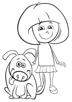 Czarno-biały rysunek ilustracja dziecko dziewczynka z książką kolorowanki śmieszne pies