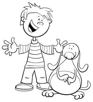 Czarno-biały rysunek ilustracja kid boy z książką kolorowanki śmieszne pies lub szczeniak