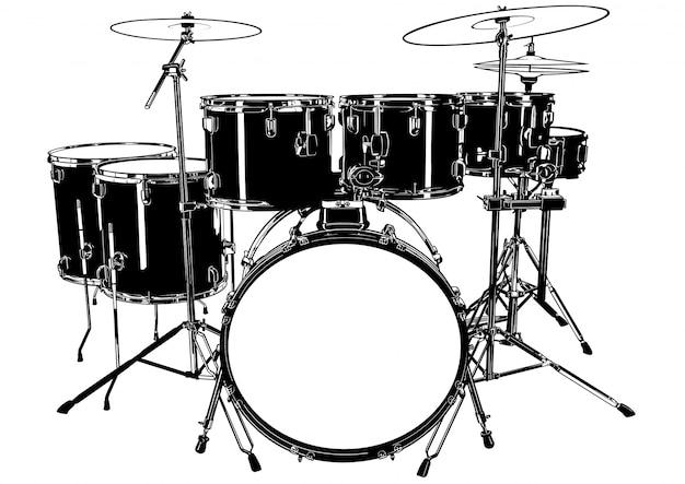 Czarno-biały rysunek perkusji
