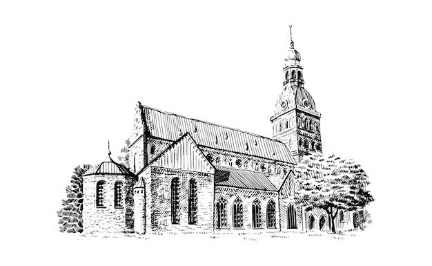 Czarno-biały rysunek szkic katedry w rydze