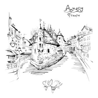 Czarno-biały rysunek, widok miasta na palais de l'isle i rzekę thiou na starym mieście w annecy, wenecja alp, francja.