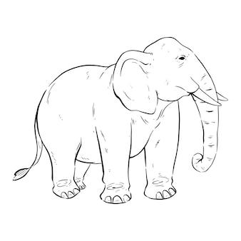 Czarno-biały słoń z ręcznie rysowanym lub szkicowym stylem