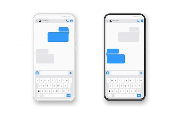 Czarno-biały smartfon, bańki szablonów aplikacji sms na czacie, czarno-biały motyw. umieść własny tekst w chmurach wiadomości. twórz dialogi, używając próbek bąbelków!