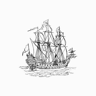 Czarno-biały statek na białym tle
