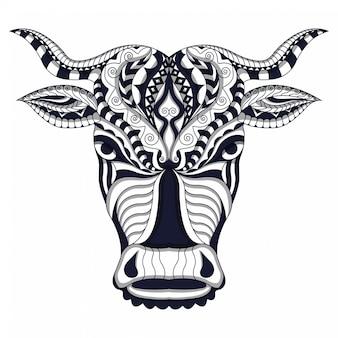 Czarno-biały stylizowana krowa w etnicznym białym tle