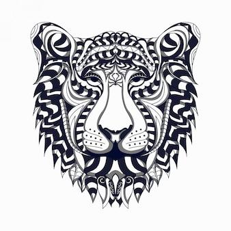 Czarno-biały stylizowany lew zentangle wektor