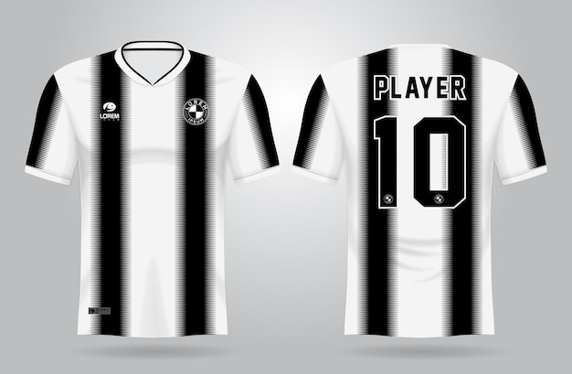 Czarno-biały szablon koszulki sportowej do strojów drużynowych