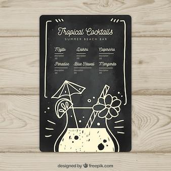 Czarno-biały szablon menu koktajlowe