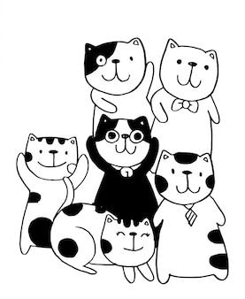 Czarno-biały szuflada ręczna, styl postaci kotów doodles ilustracyjne kolorowanki dla dzieci