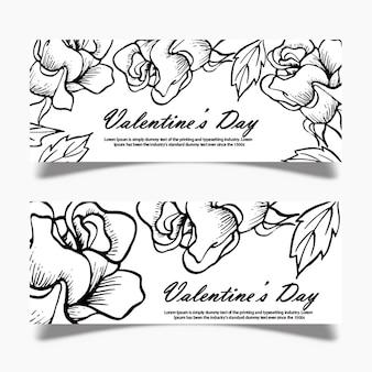 Czarno-biały valentine banner