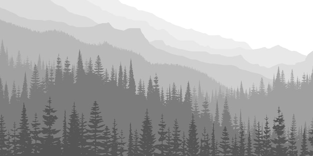 Czarno-biały widok na góry w świetle poranka