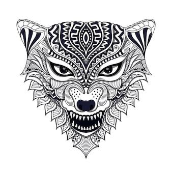 Czarno-biały wilk stylizowane w ilustracji stylu etnicznym
