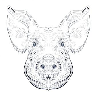 Czarno-biały wygrawerować izolowaną świnię