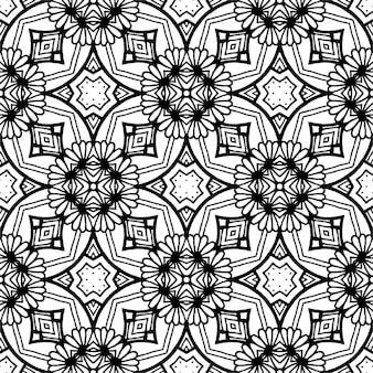 Czarno-biały wzór batikowy, batik indonezyjski to technika barwienia odpornego na wosk stosowana na całej tkaninie