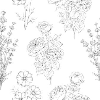 Czarno-biały wzór kwiatowy.