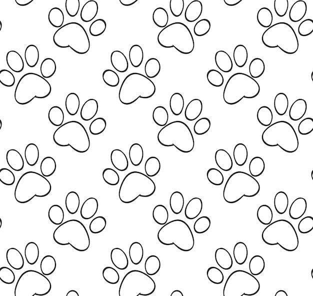 Czarno-biały wzór z konturami łap kota