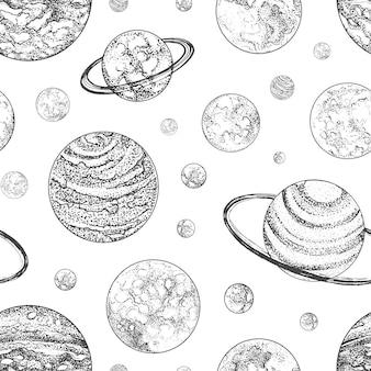 Czarno-biały wzór z planet i innych ciał planetarnych w przestrzeni kosmicznej. tło z niebieskimi obiektami narysowanymi w stylu dotwork. ilustracja wektorowa na tapetę, papier pakowy.