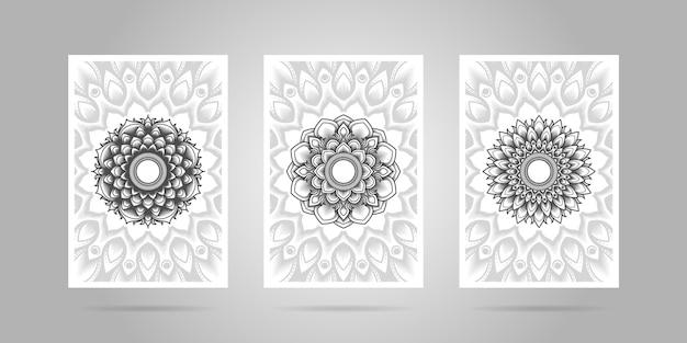 Czarno-biały zestaw okładek kwiatowych mandali.
