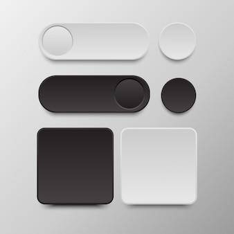 Czarno-biały zestaw przycisków okrągłe i kwadratowe przyciski