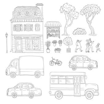 Czarno-biały zestaw szkic ilustracji rocznika europejskiego domu, ciężarówek i samochodów, nadchodzących ludzi. zestaw roślin ogrodowych i kwiatów w doniczkach.