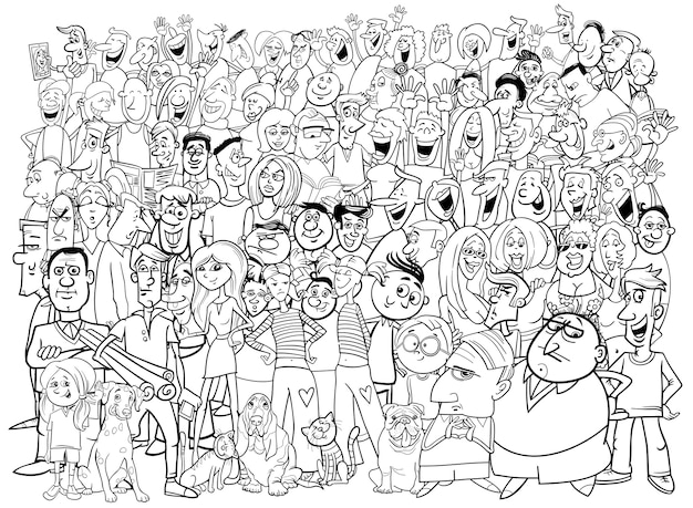 Czarno-białych osób duża grupa
