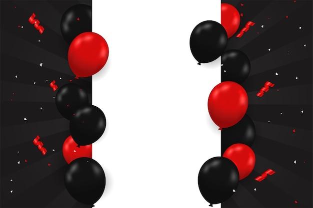 Czarno-czerwone balony unoszące się z boku pola tekstowego specjalna wyprzedaż blackfriday.