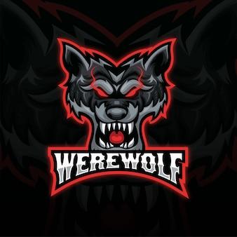 Czarno-czerwone logo esport maskotki zły wilk głowy. projekt logo głowy wilka z widokiem z przodu