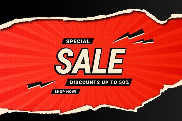 Czarno-czerwone Realistyczne Tło Sprzedaży Z Zgrywanie Papieru Premium Wektorów