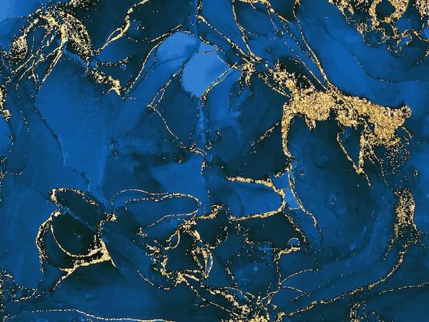 Czarno-niebieskie tło akwarela ze złotym brokatem akwarela alkohol atrament splash płynny przepływ tex...