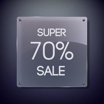 Czarno-szary baner sprzedaży ze słowami siedemnaście procent sprzedaży na kwadratowej metalowej płytce