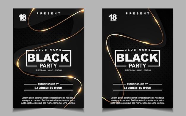 Czarno-złota ulotka z muzyką na nocną imprezę taneczną lub projekt plakatu