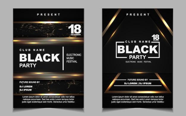 Czarno-złota ulotka z muzyką nocną lub projekt plakatu