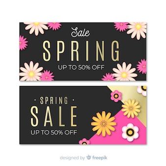 Czarno-złote banery sprzedaż wiosna