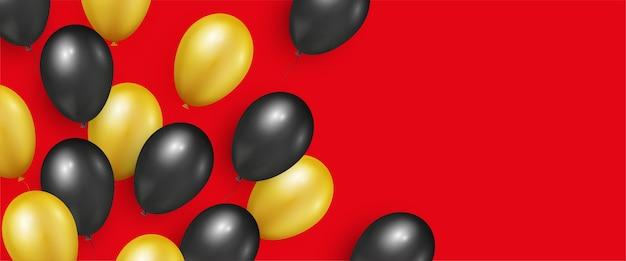 Czarno-złote realistyczne błyszczące balony na banery black friday sale