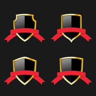 Czarno-złote tarcze z czerwonymi wstążkami. emblematy ochronne. symbole bezpieczeństwa