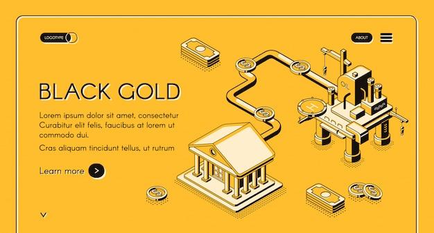 Czarno-złoty baner internetowy. platforma wiertnicza na morzu dostarczająca olej przez rurociąg