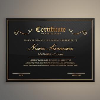 Czarno-złoty certyfikat appriciation