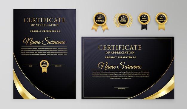Czarno-złoty certyfikat z odznakami i szablonem nowoczesnego wzoru linii