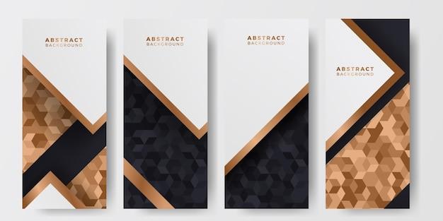 Czarno-złoty wzór płytki luksusowy elegancki abstrakcyjny luksusowy tło dla szablonów postów w mediach społecznościowych