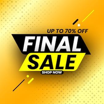 Czarno-żółty baner sprzedaży końcowej z cieniem, do 70% zniżki.