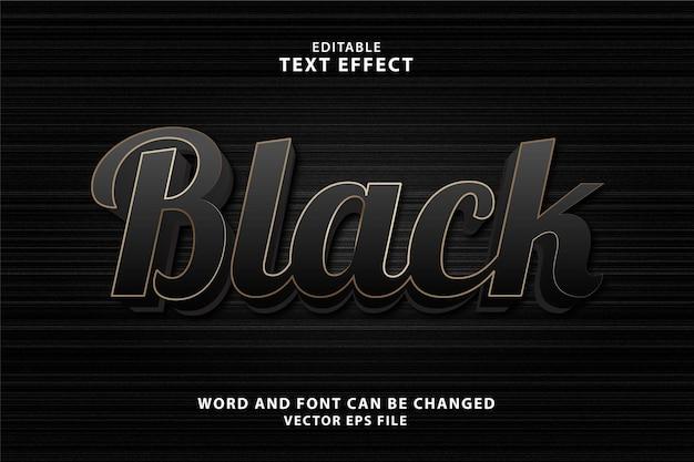 Czarny 3d edytowalny efekt tekstowy eps