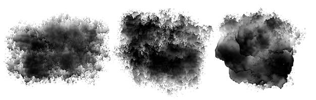 Czarny atrament akwarela plama zestaw tekstury