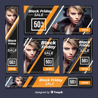 Czarny baner strony internetowej szablon