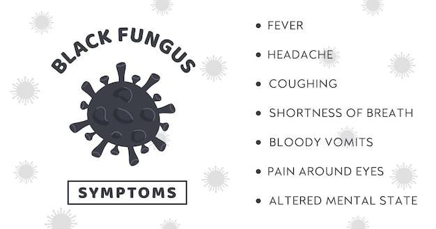 Czarny baner z epidemią grzybów z objawami bakterii grzybiczych w chorobie mukormykozy