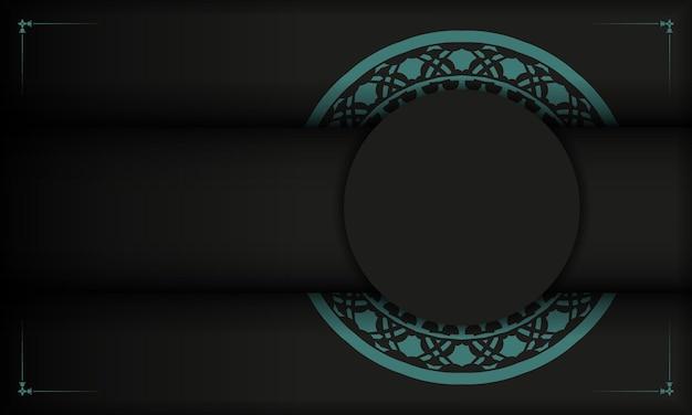 Czarny baner z greckimi niebieskimi zdobieniami i miejscem na twoje logo. szablon do druku pocztówki z abstrakcyjnymi wzorami.
