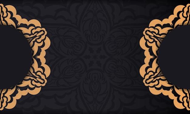 Czarny baner z luksusowymi zdobieniami na twoje logo.